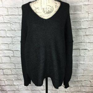 Free People All Mine Black Alpaca/Cotton Sweater